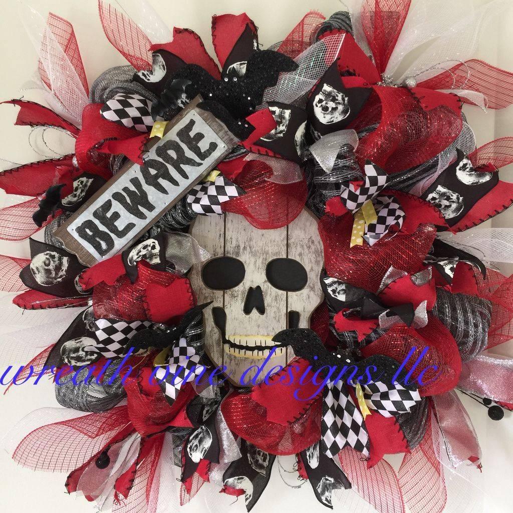 Wood Scarecrow Mesh  Wreath