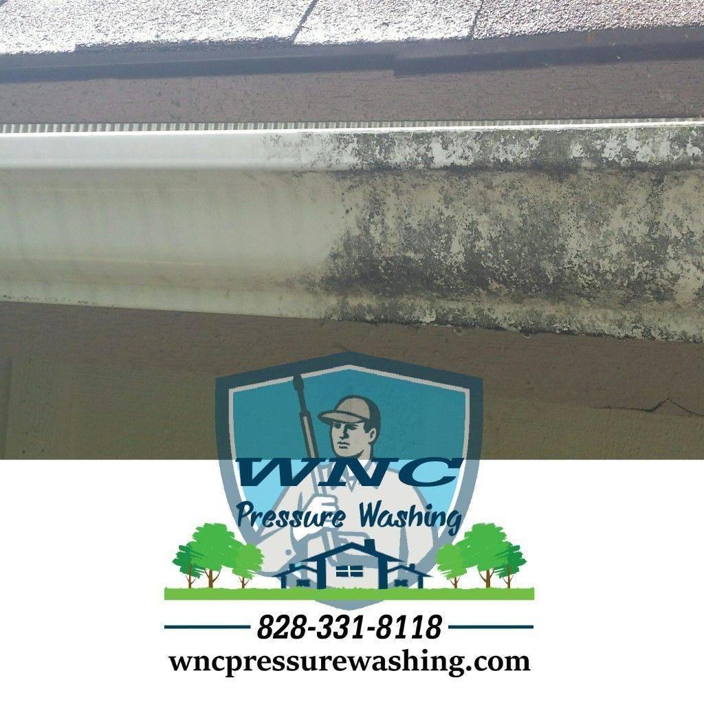 Soft washing gutters in Waynesville