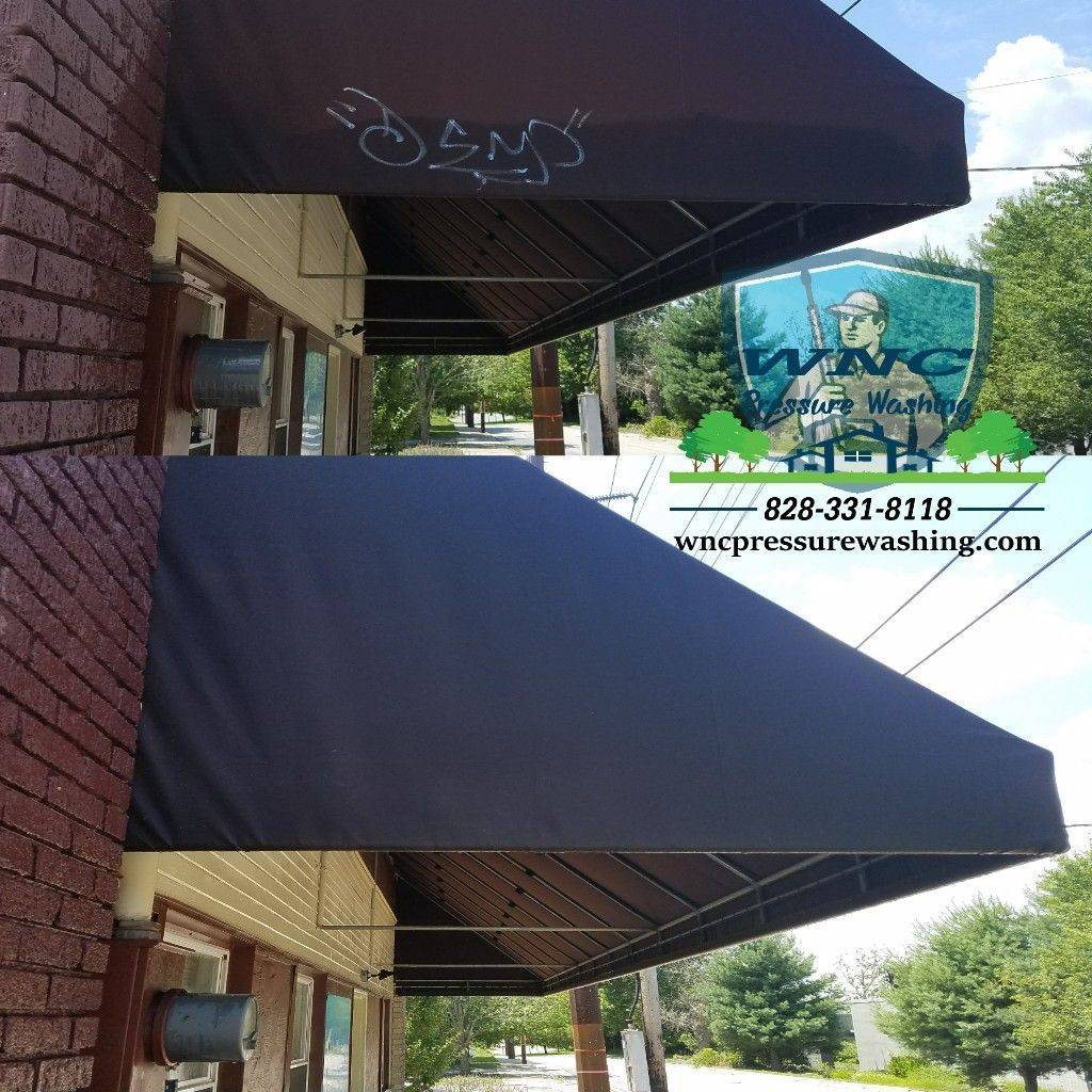Awning graffiti removal