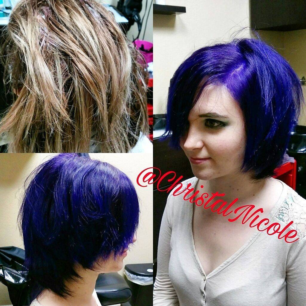 before and after- purple haircolor and haircut