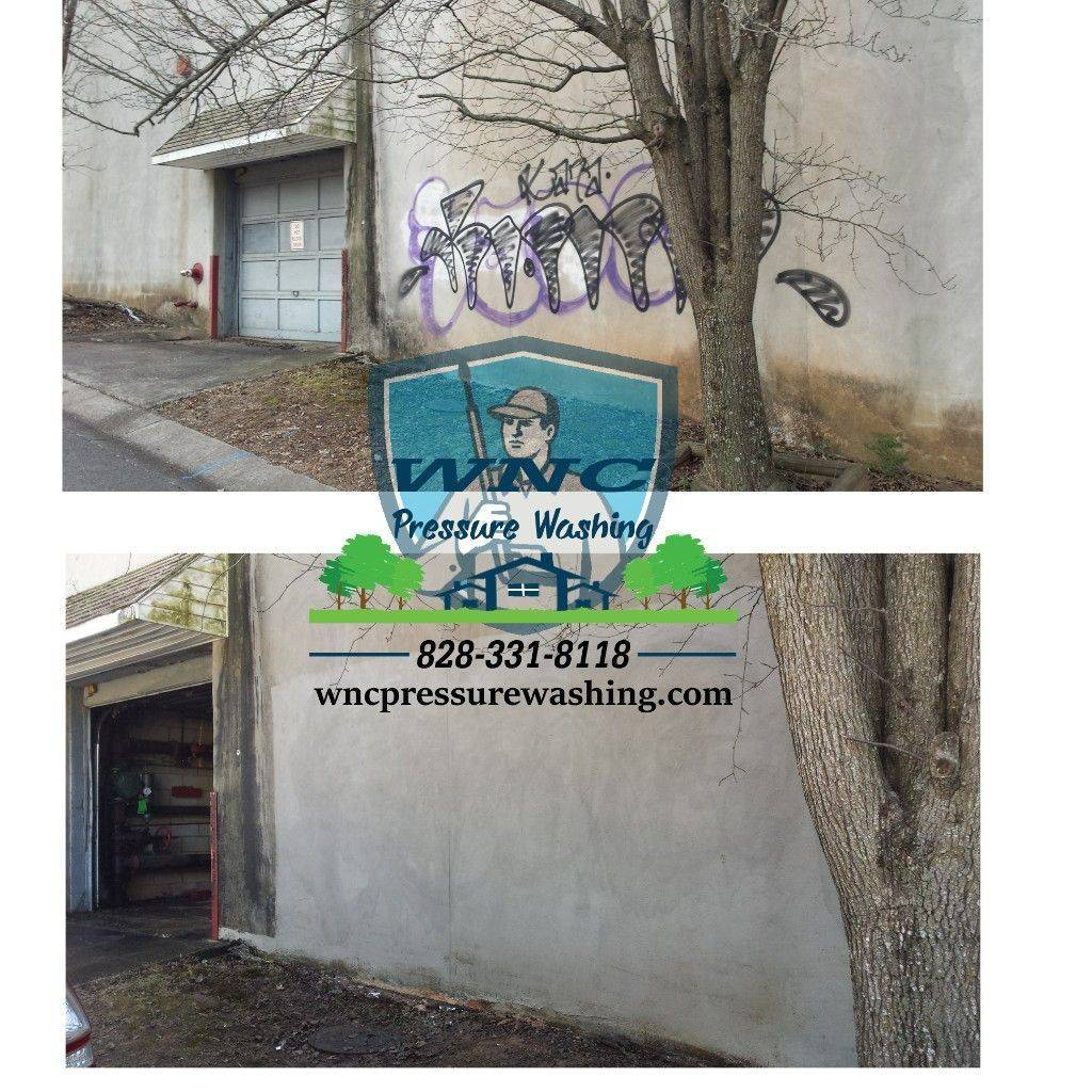 Graffiti removal in Asheville, Pressure washing