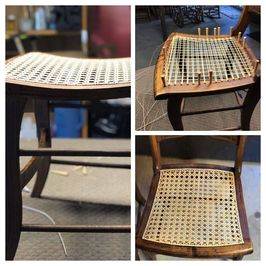 Hand Caned Chair with Curved Rails done by Hank's Cane & Rush Restoration