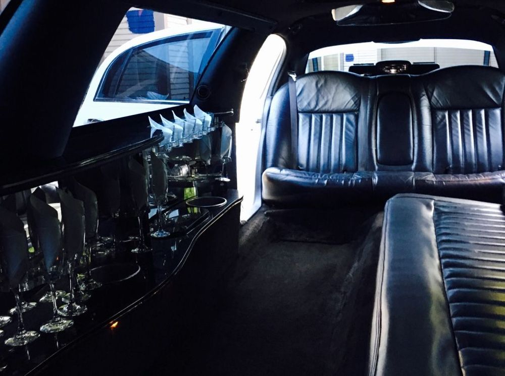 Inside Rear View of An 8 Passenger Limousine from Napa Sonoma Wine Tasting Driver.
