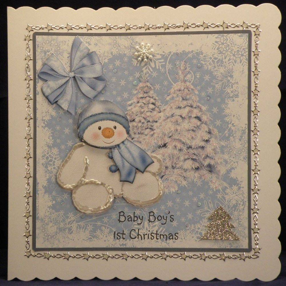 Blue and White Snowman 1st Christmas