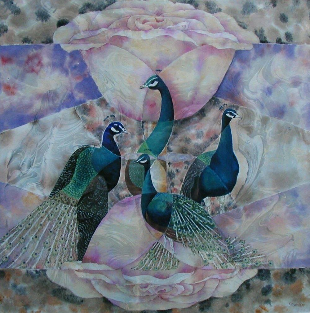 Peacocks, Roses, Painting, Modern Art, Watercolor, Birds, Manasse