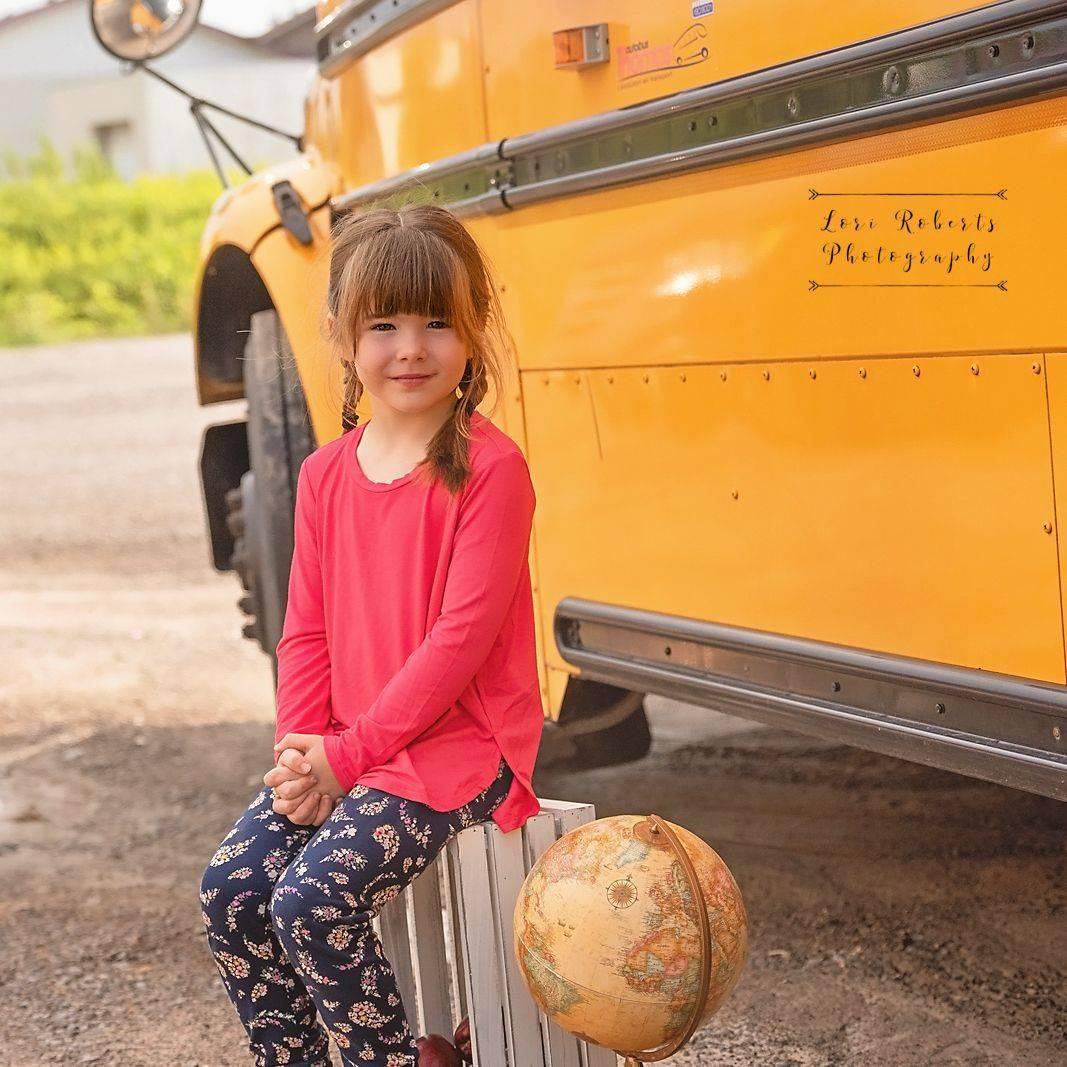 back to school mini, school bus, girl, school, globe,