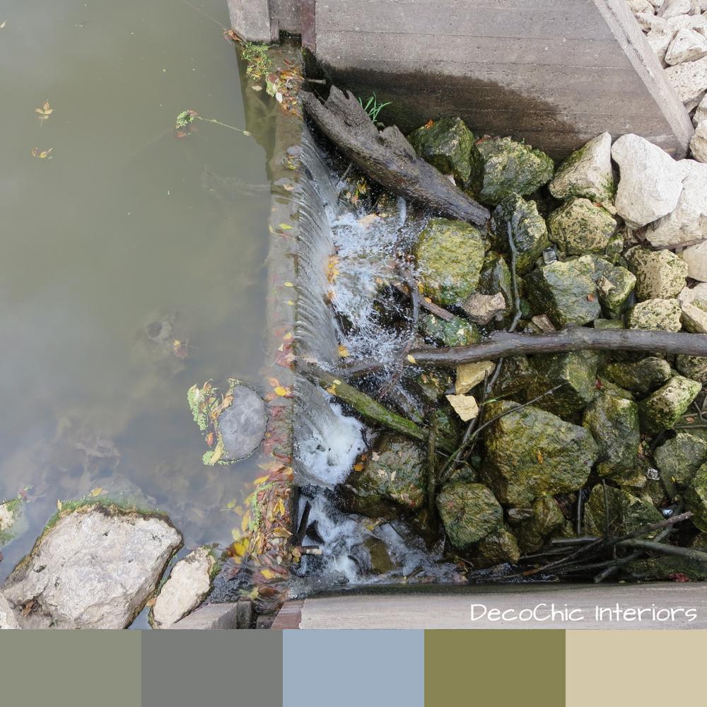 waterfall, color inspiration, green, slime, algae, rocks, sticks, stone, blue, leaves