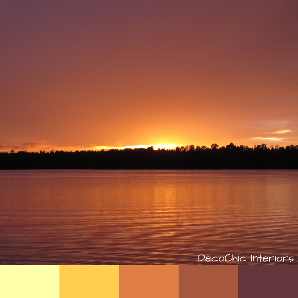dog days of summer, color inspiration, orange, yellow, sunset, hot, heat wave, august, lake life, shoreline, trees