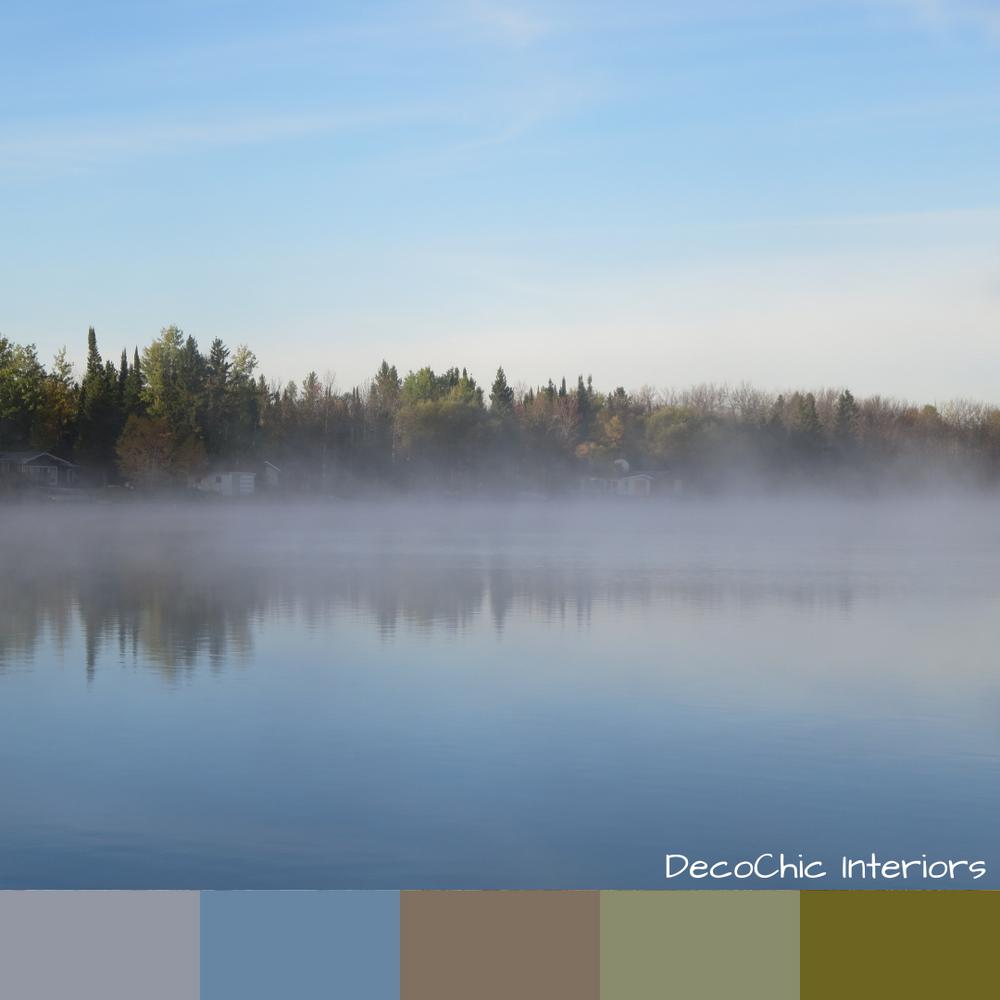 morning fog, color inspiration, lake, sunrise, green, trees, fall, water, blue, green
