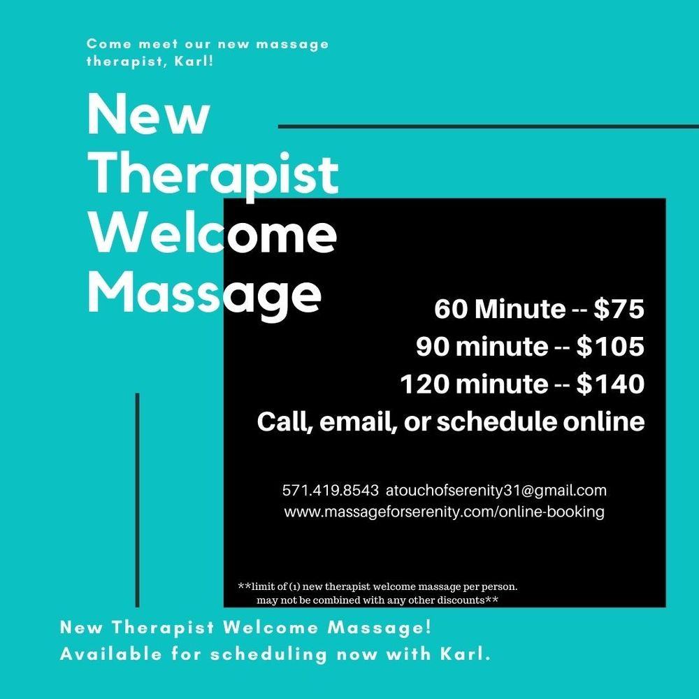 New client special for massage therapy in Alexandria Virginia