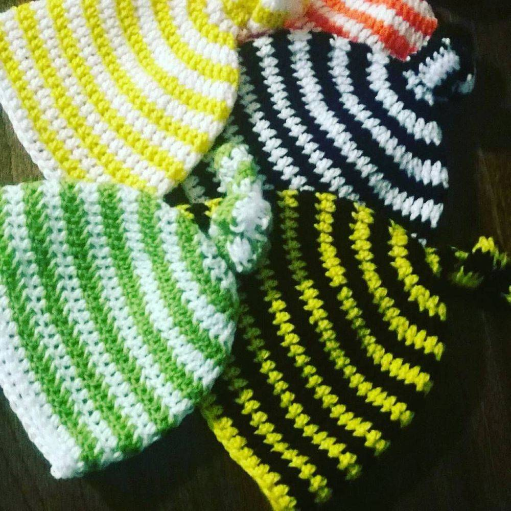 Baby Striped Knot Hats