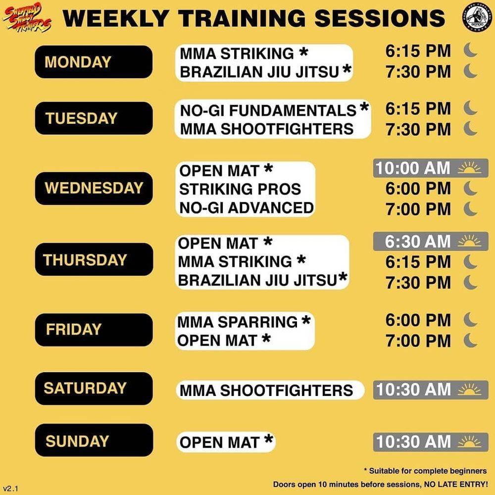 Sheffield MMA BJJ Timetable Classes Sessions