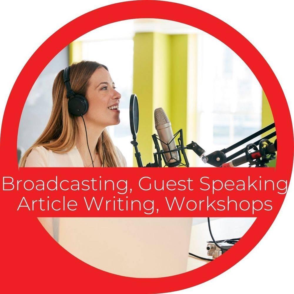 LGBTQIA+ broadcasting, guest speaking, article writing, workshops