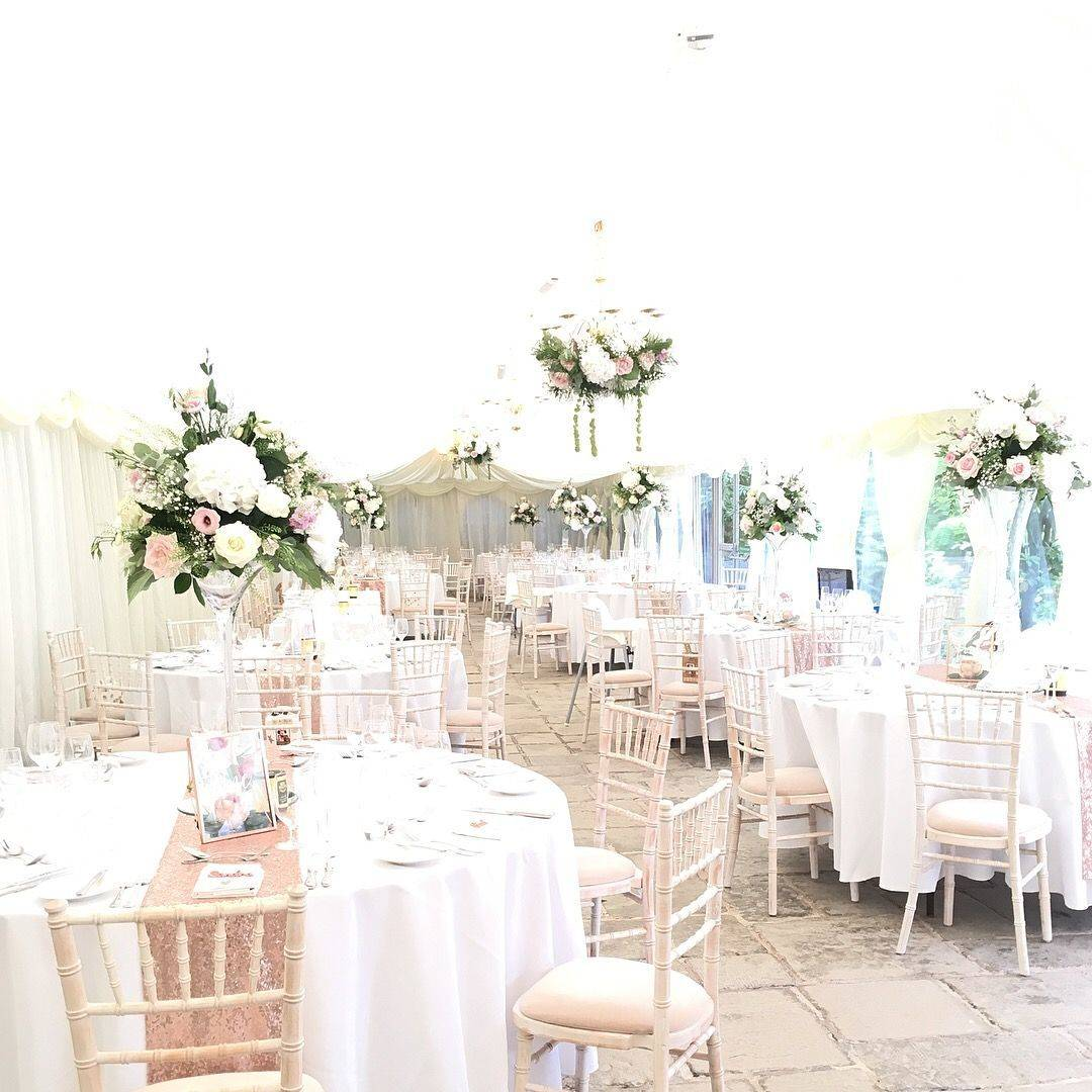 Birtsmorton Court, wedding flowers, floral chandeliers, centrepieces