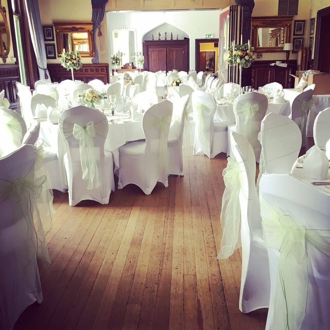 Venue styling, chair covers, Wedding Florist Warwickshire, Solihull