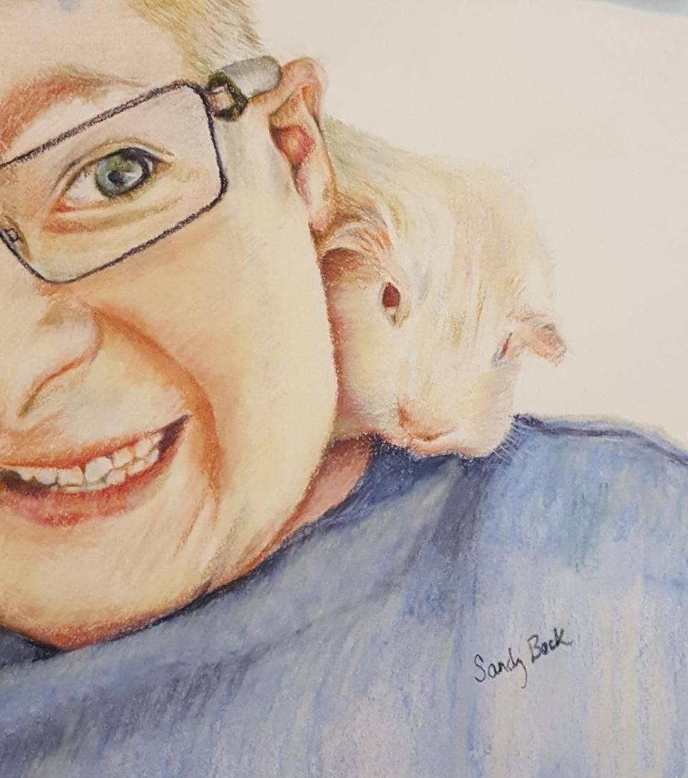 portrait, people and pet, guniea pig, portrait, art, sandy bock