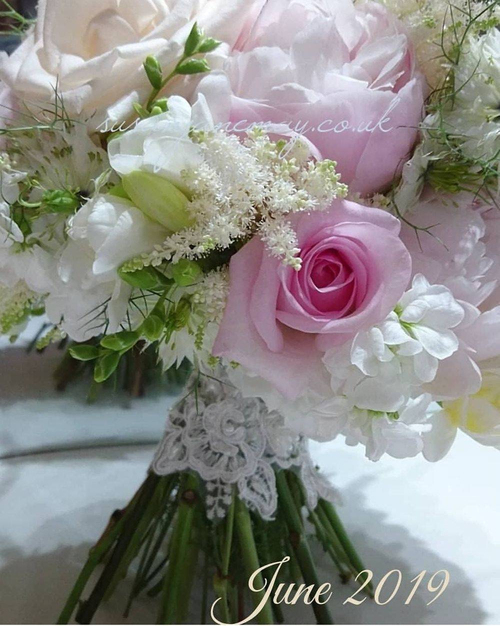 Hand Tied Bridal Bouquet. Wedding Flowers Suffolk. Rose and Peony Bouquet. Bridal Flowers.