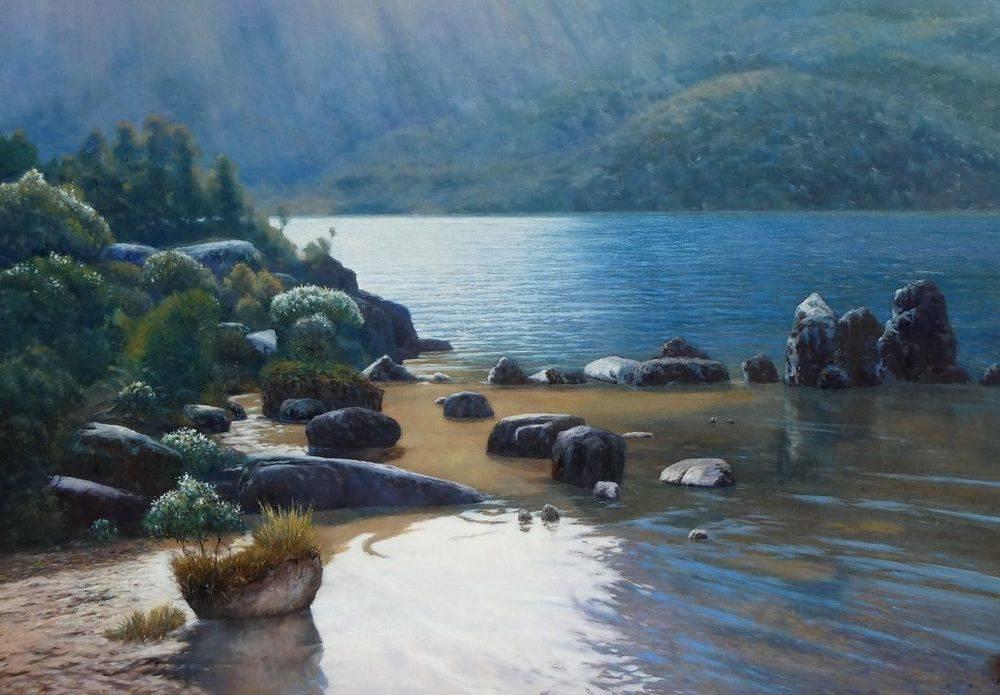 Dove Lake Cradle Mountain Sunrays Oil Painting