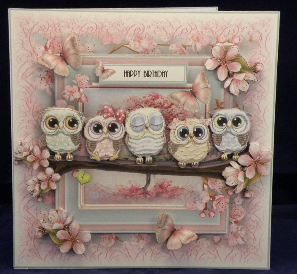 Cherry Blossom Owls