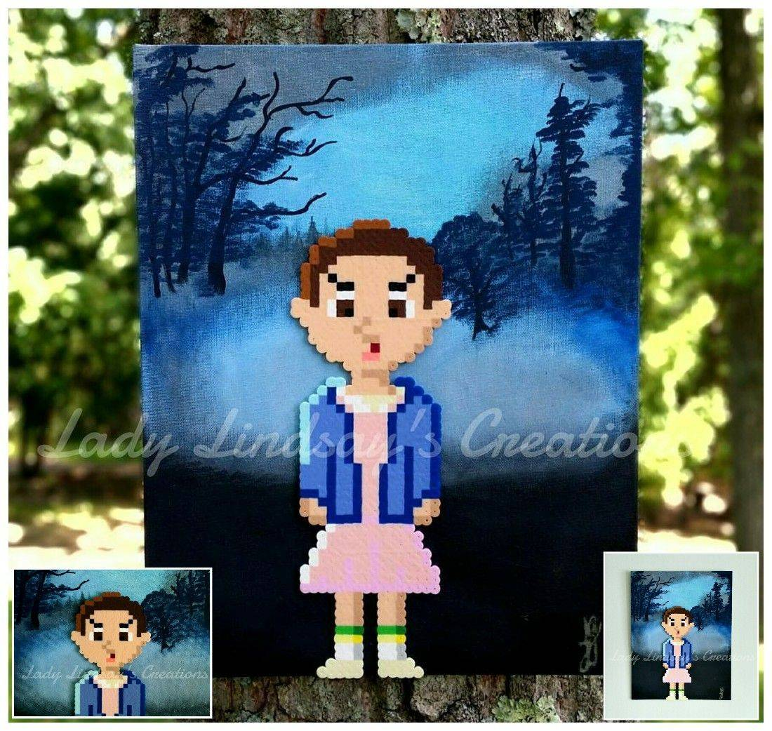 Stranger Things, The Duffer Brothers, Pixel Art, Pixel Sprite, Pixel, Perler beads, Perler, handmade, acrylic paint, hand painted, art, original art,  Eleven, waffles, nerd, geek, netflix, etsy, otaku, anime, comicbook, demogorgon, shop small