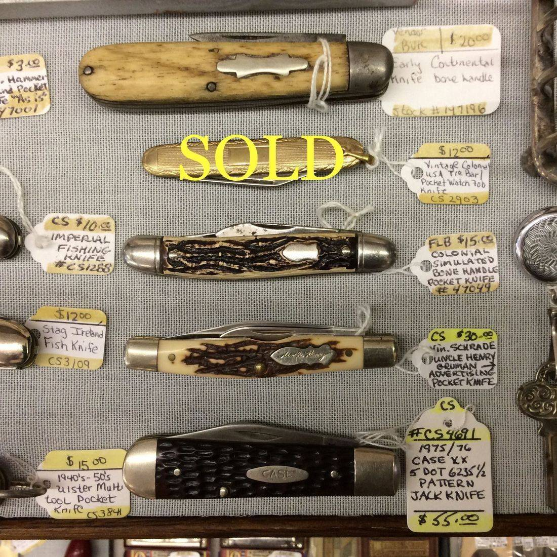 1975/76 Case XX 5-Dot #6235-1/2 Pattern Jack Knife   $55.00,  Vintage Schrade ' Uncle Henry ' Gruman Advertising Pocket Knife Model 833UH   $30.00