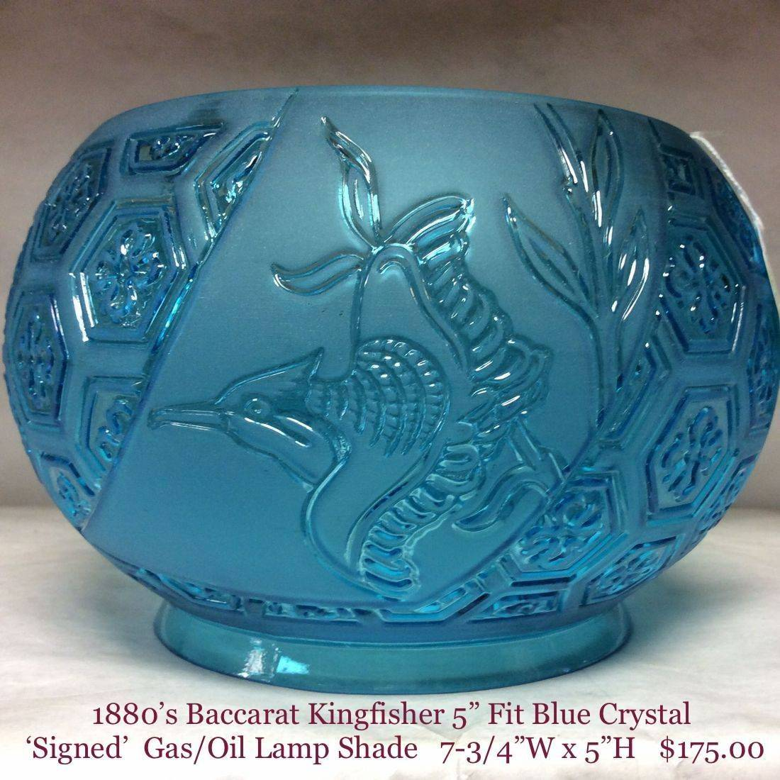 """1880's - 5"""" Fit Baccarat Kingfisher Blue Crystal Gas/Oil Lamp Shade   $175.00"""