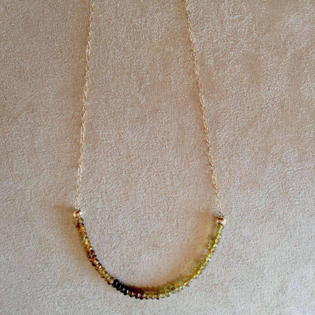 "17""Green Garnet Gemstone necklace 14k Gold Filled Chain, Amber Clasp"