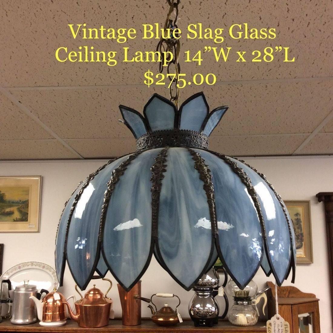 Vintage Blue Slag Glass Ceiling Light