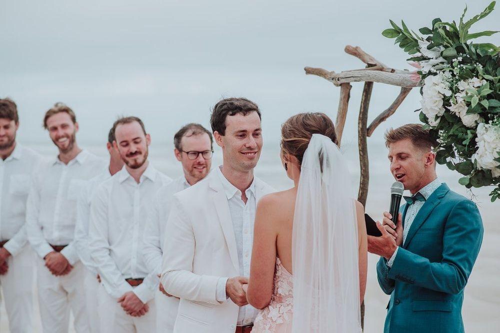 Coastal wedding ceremony,  drift wood arbour.