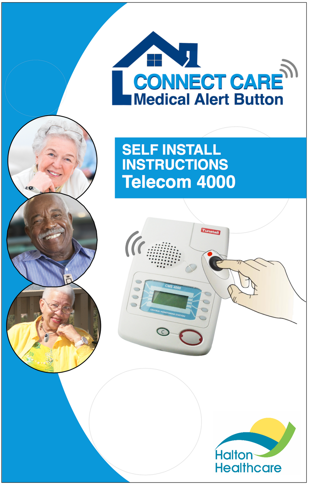 Images of seniors wearing the personal help button on the cover of the Telecom 4000 Self Install Instructions Guide.
