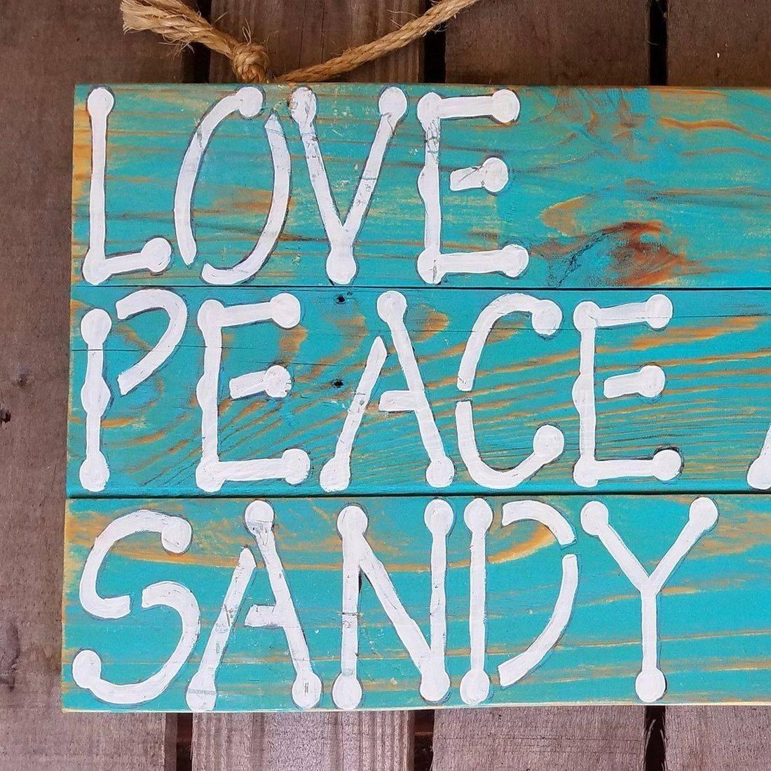 Handmade Reclaimed Pallet Wood Love Peace Sandy Feet Beach Sign