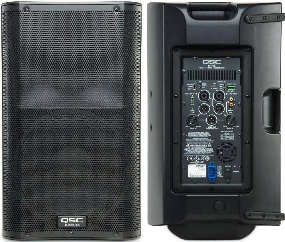 QSC K12 powered speakers for rent