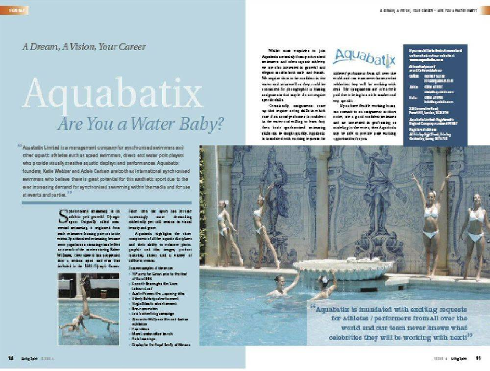 Living Spirit Magazine - A DREAM A VISION YOUR CAREER - AQUABATIX - Issue 1 2019
