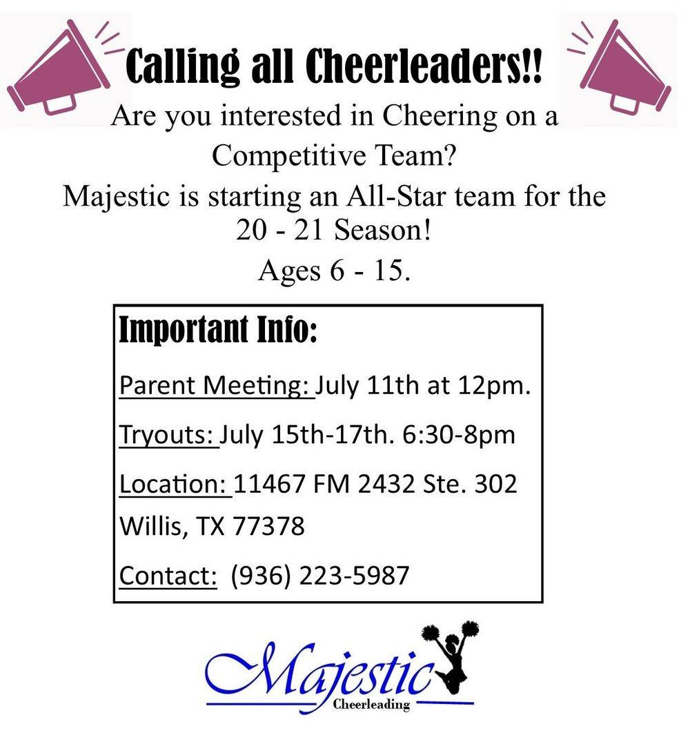 cheer tryout cheerleading competitive willis conroe