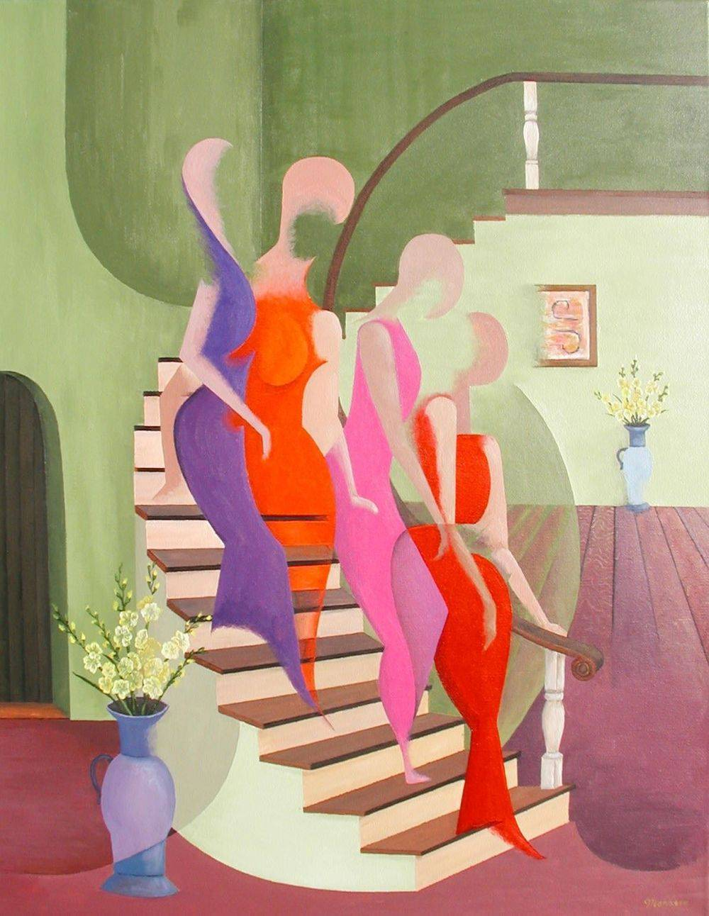 Spiral Staircase. Women Descending, Ladies, Abstract Art, Painting.