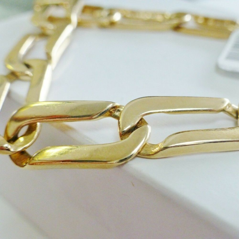 Men's Yellow Gold Rectangular Link Bracelet