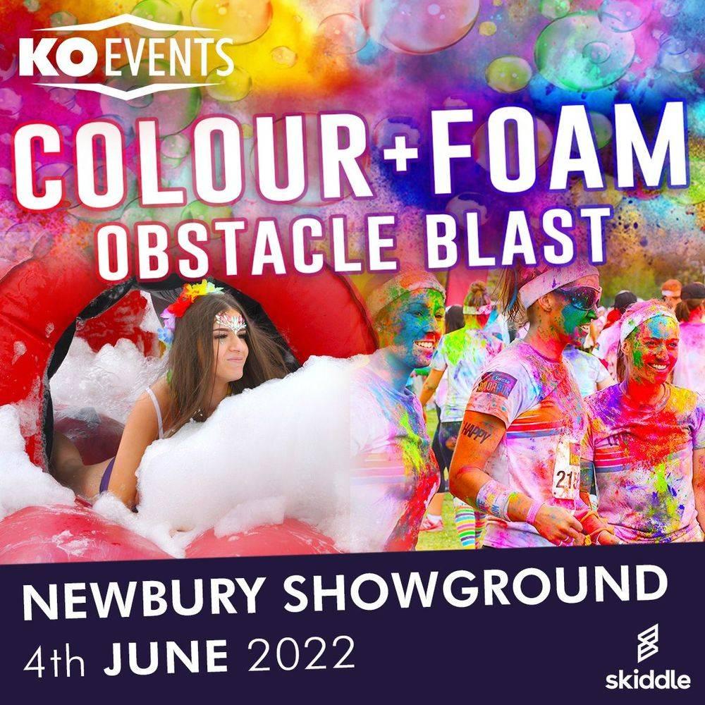 Colour Foam Fun Run Walk Blast Inflatable Obstacle Course Charity Sponsored Newbury