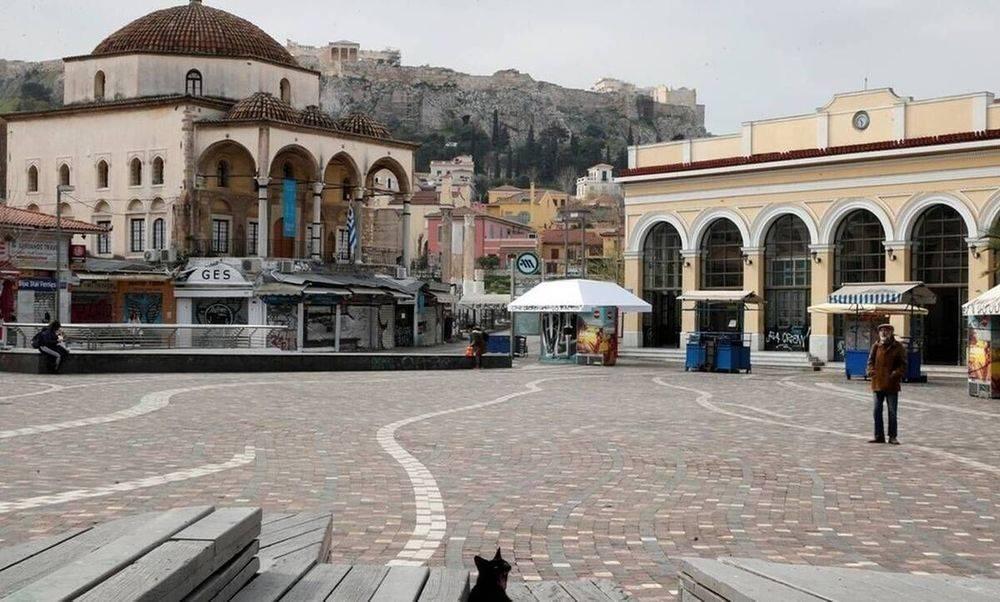 Monastiraki Square during lockdown