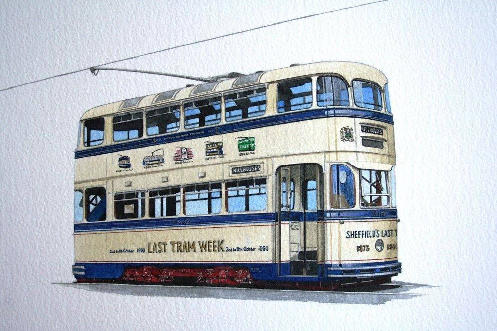 """Sheffield 510 : One of the """"static"""" display cars at the Crich Tramway Village. This car is now back in service at Crich. COMMISSION - SOLD"""