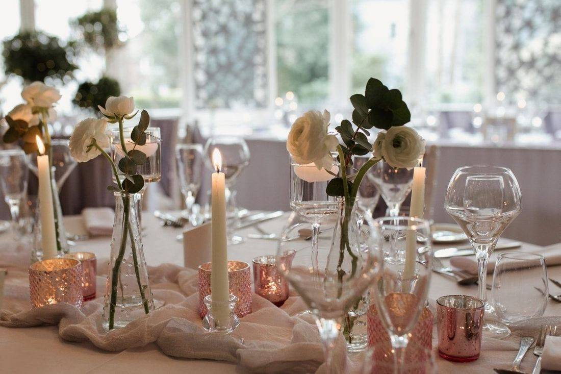 Wedding reception table styling at The Green House Hotel Bournemouth
