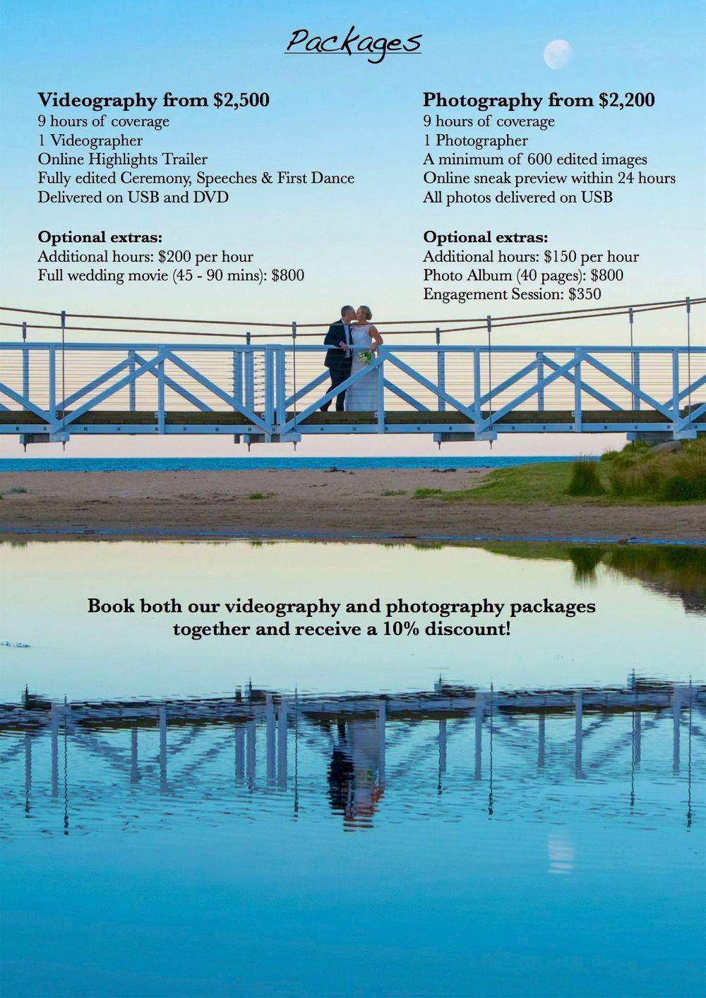 Wedding Videography & Photography Pricing