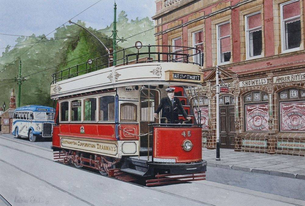 """Southampton 45 : Outside the Red Lion Public House at Crich Tramway Village in Derbyshire. This particular car was redesigned to fit through the ancient town wall arched gateways in Southampton by fitting back to back """"knifeboard"""" seating in the upper saloon, so that the passengers didn't """"bang their heads"""" as they went through. COMMISSION - SOLD"""