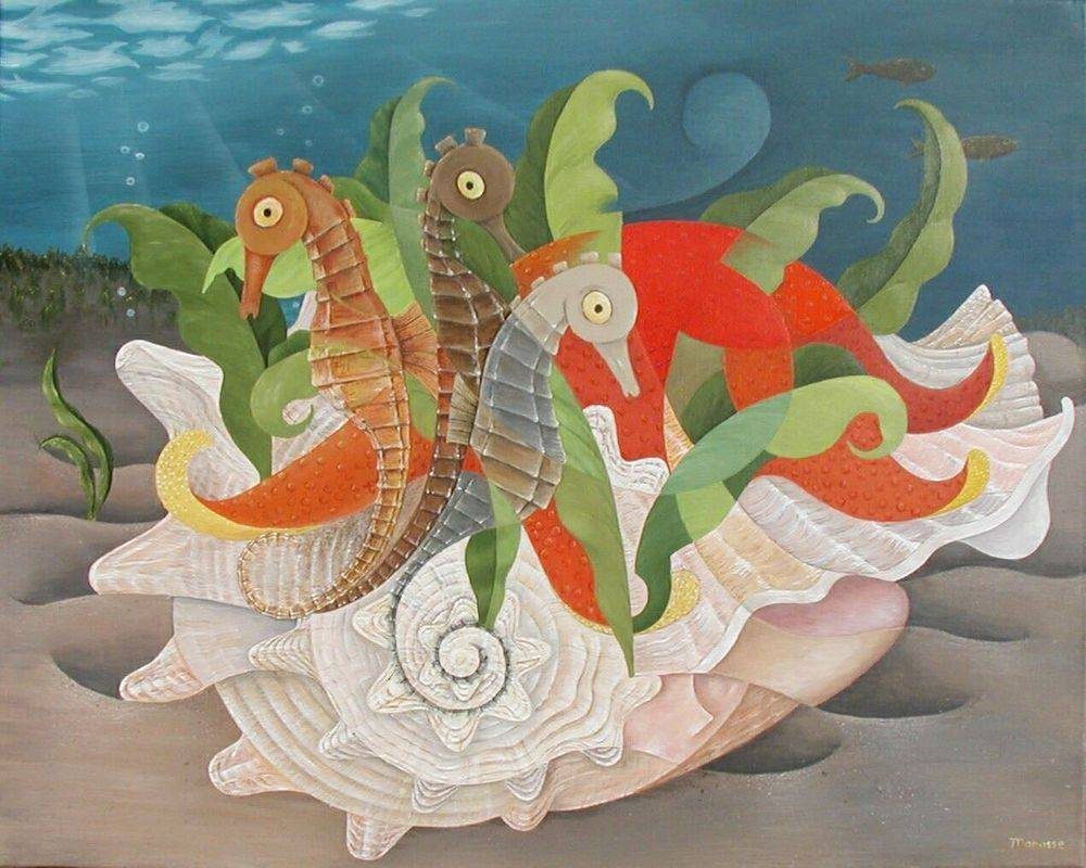 Sea Horses. Shell. Ocean Under Water  Cubism Art Modern Painting