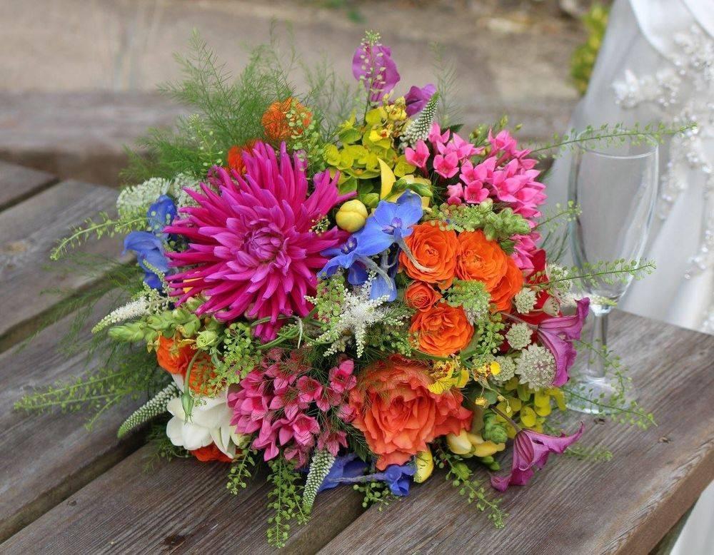 Colourful Dahlia Wedding Bouquet