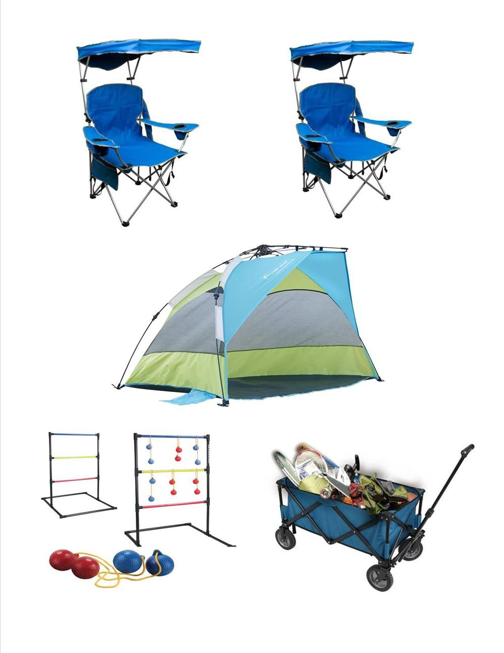 Rent Beach chairs,beach shelter, wagon and games package