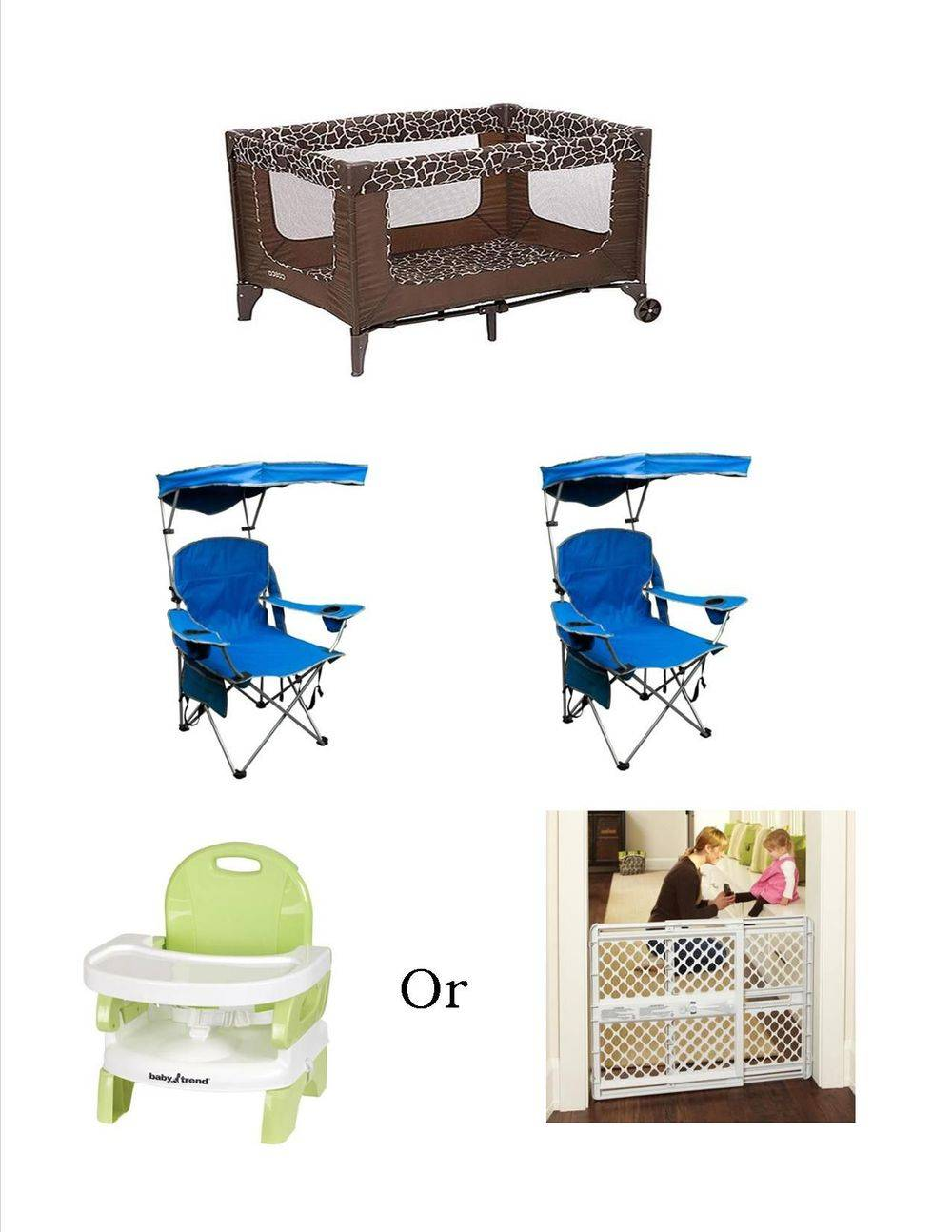 Baby pack and play, beach chairs package