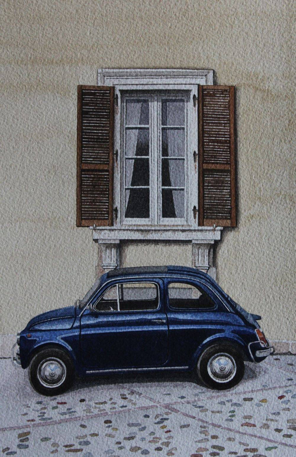 Fiat 500 at Amelia Italy Double Mounted Watercolour : £100
