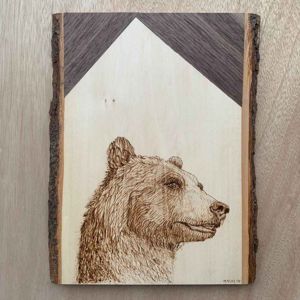 wood, bear, live edge wood, art, canada