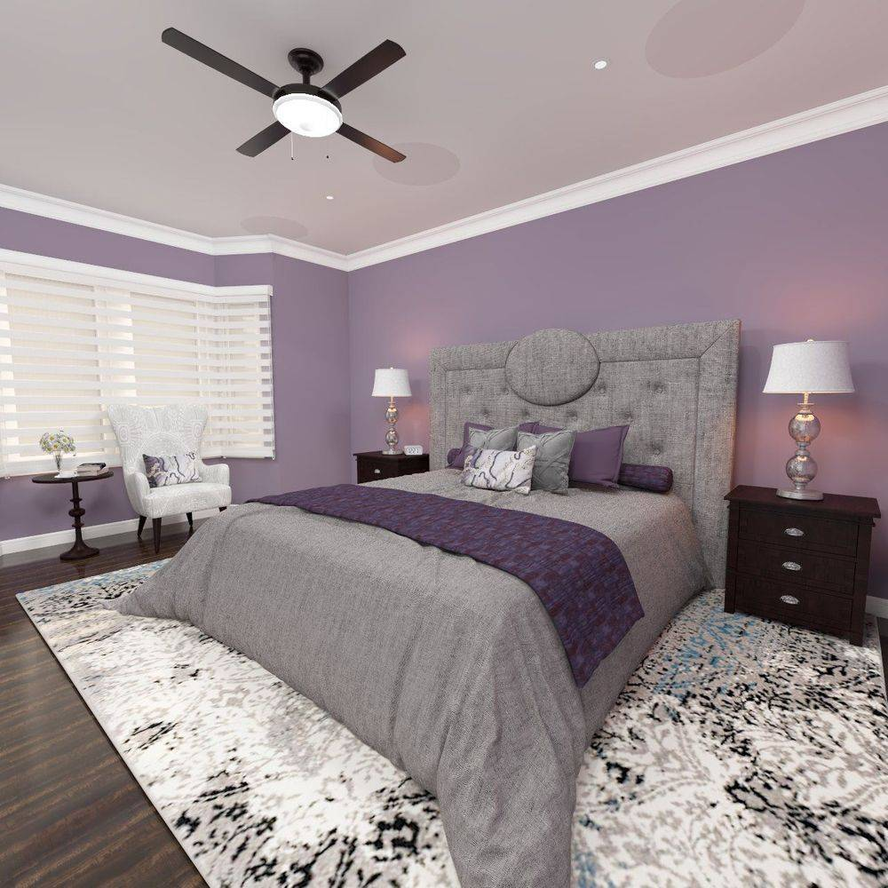 Master bedroom, grey, purple, contemporary, interior design