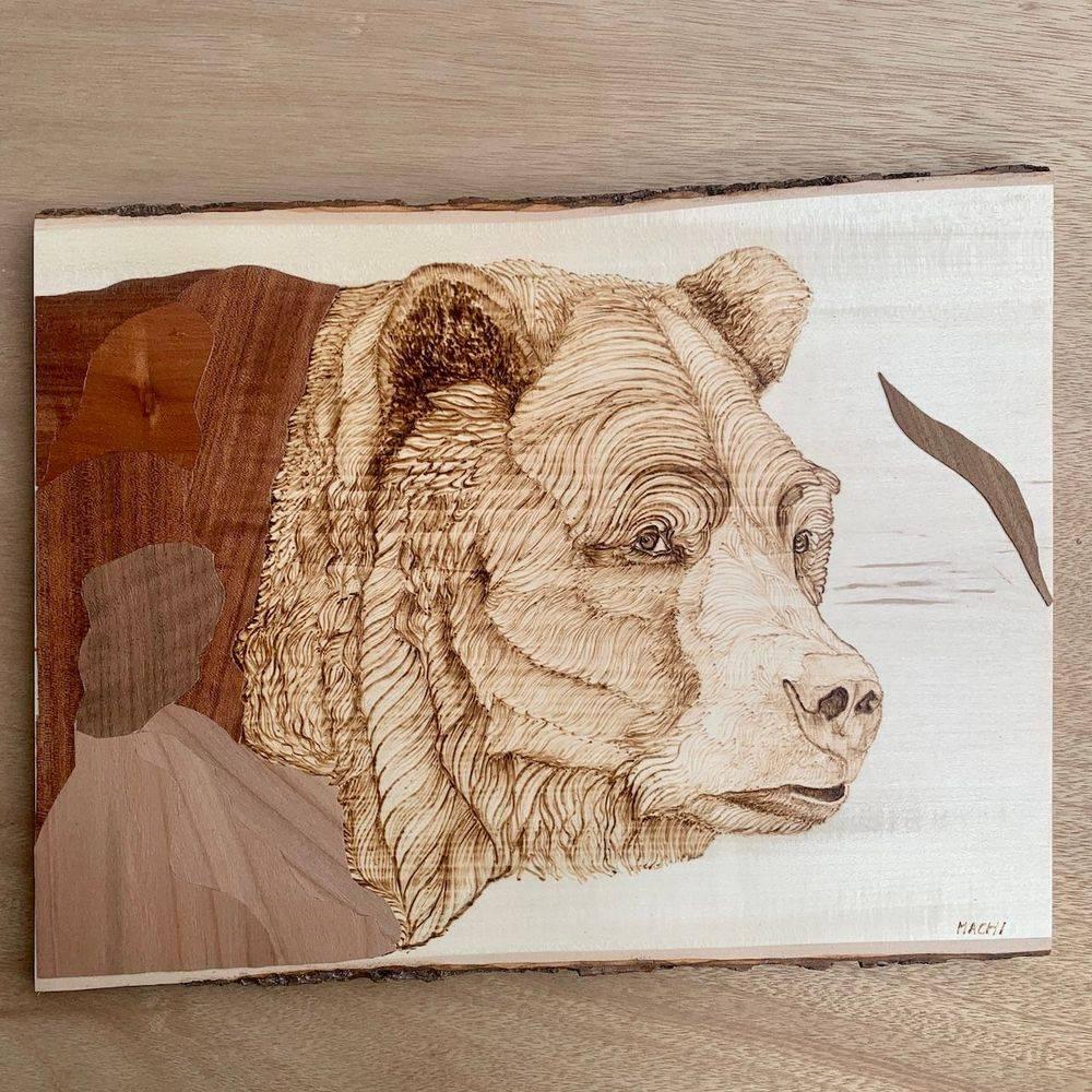 wood, bear, live edge wood, art, canada, pyrography